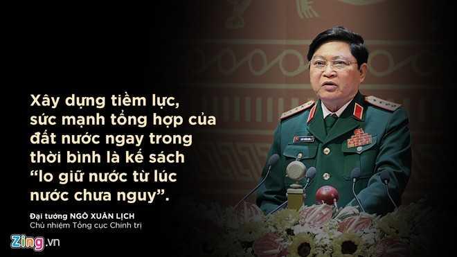 Đại tướng Ngô Xuân Lịch - Chủ nhiệm Tổng cục Chính trị phát biểu trước toàn thể Đại hội.