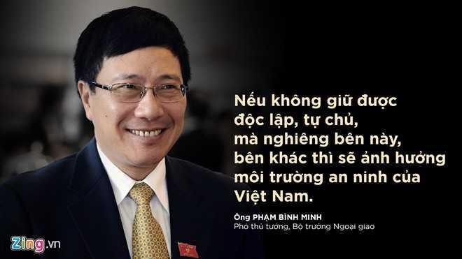 Phó thủ tướng Phạm Bình Minh chia sẻ bên lề Đại hội XII khi được hỏi về lập trường của Việt Nam trong hoàn cảnh các nước lớn canh tranh về chiến lược trong khu vực.
