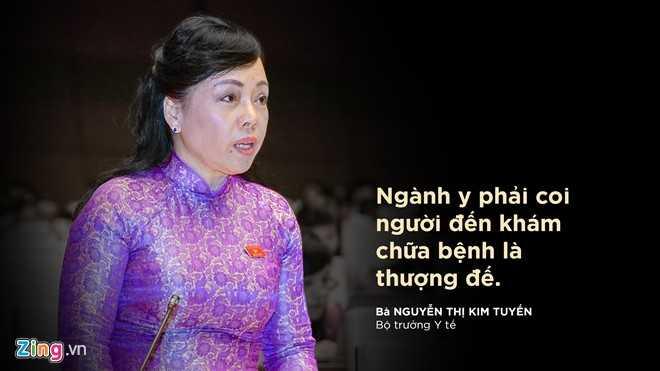Theo Bộ trưởng Y tế Nguyễn Thị Kim Tiến, là người cung cấp dịch vụ thì ngành y phải mời chào, nhiệt tình, thu hút, coi những người đó là trung tâm, là khách hàng, là thượng đế. Thái độ với khách hàng không tốt, người ta quay đi thì sẽ lựa chọn những bệnh viện tư.