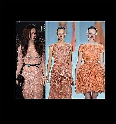 Chiếc váy Hà Hồ mặc bị đem ra so với váy của Elie Saab.