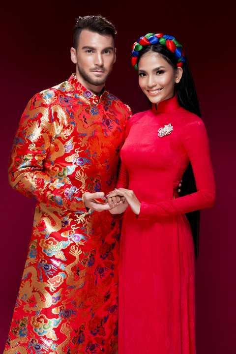 Đây là lần hiếm hoi Trương Thị May chụp ảnh thời trang cùng người mẫu nam.
