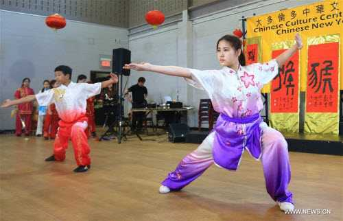 Sinh viên Trung Quốc biểu diễn võ cổ truyền của nước mình trong dịp đón năm mới tại Trung tâm văn hóa Trung Quốc ở Toronto, Canada.