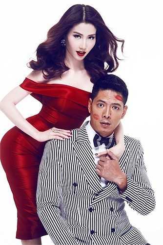 Diễm My 9x nồng nàn với váy và son môi đỏ.