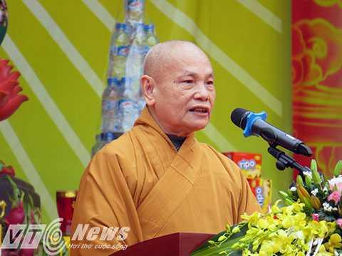Thượng tọa Thích Thiện Nhơn - Chủ tịch Hội đồng trị sự Trung ương HGPG Việt Nam ban đạo từ và chúc phúc năm mới