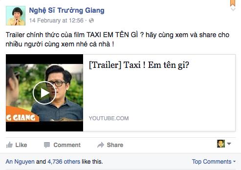 Trường Giang vẫn chia sẻ trailer phim mới mà không đả động đến scandal Quế Vân.