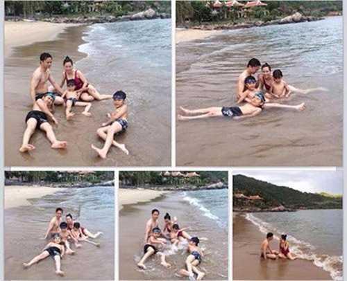Cả gia đình đại gia Chu Đăng Khoa - Vân Anh đi du lịch biển cùng nhau vào tháng 7/2014.
