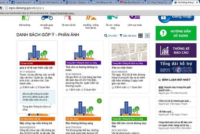 Người dân phản ánh nhiều vấn đề bức xúc đến lãnh đạo TP Đà Nẵng qua ứng dụng Góp ý.