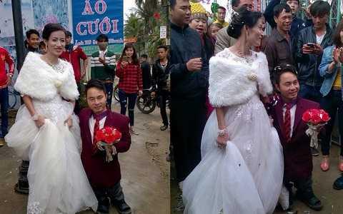 Hình ảnh đám cưới đôi đũa lệch ở Nghệ An gây xôn xao cộng đồng mạng