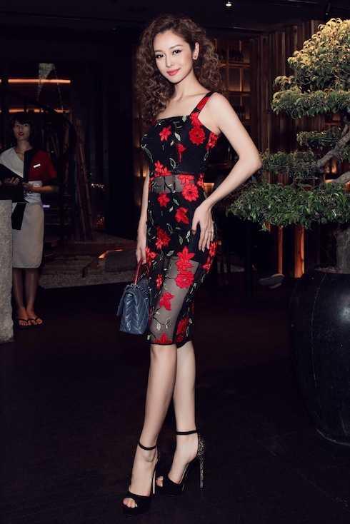 Hoa hậu Jennifer Phạm diện đầm lưới xuyên thấu.
