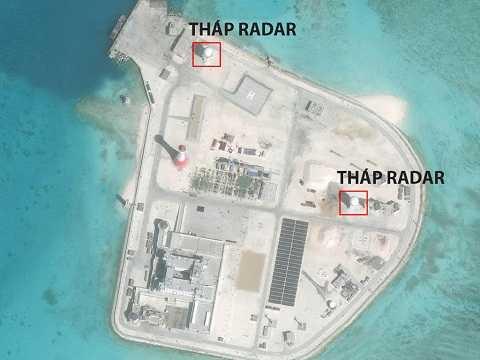 Hình ảnh được cho là tháp radar và một số cơ sở phi pháp khác của Trung Quốc ở đá Gạc Ma - Ảnh: CSIS/AMTI
