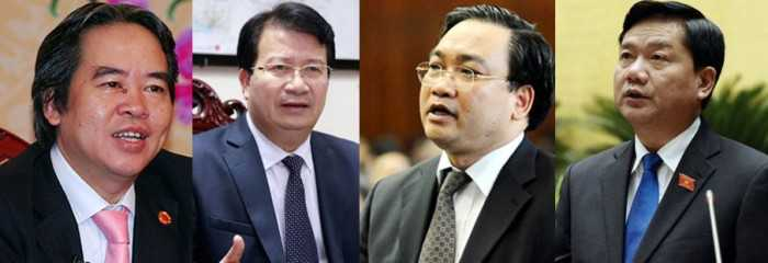 Từ trái qua: Thống đốc NHNN Nguyễn Văn Bình, Bộ trưởng Xây dựng Trịnh Đình Dũng, Bí thư Thành ủy Hà Nội Hoàng Trung Hải, Bí thư Thành ủy TP HCM Đinh La Thăng.