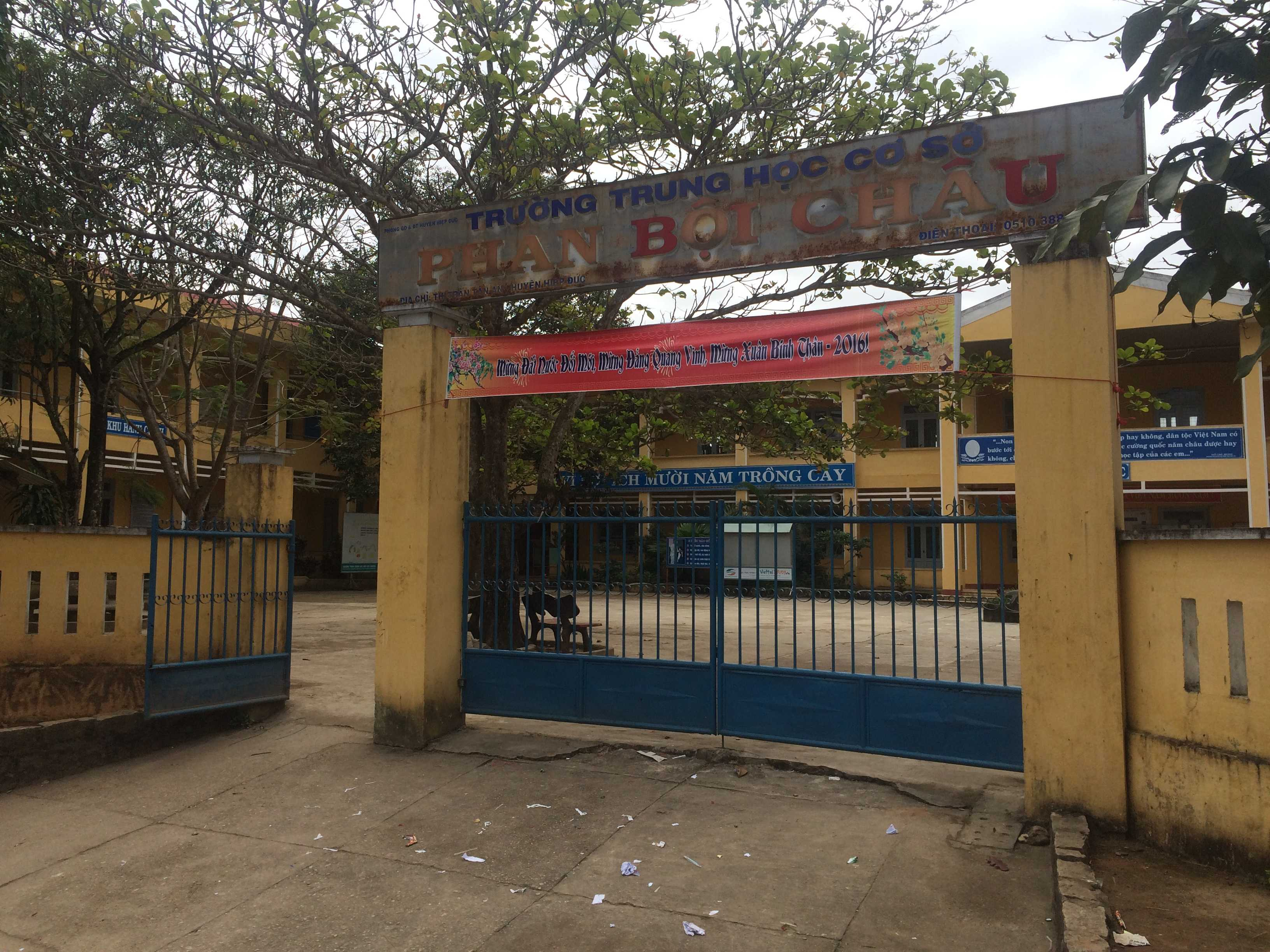 Trường THCS Phan Bội Châu (huyện Hiệp Đức, Quảng Nam) nơi xảy ra sự việc.