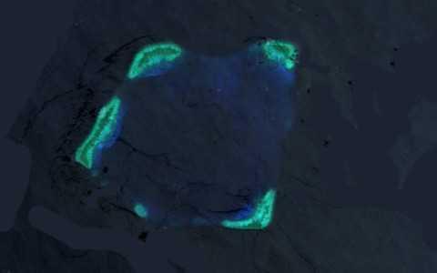 Hình ảnh vệ tinh rạn san hô Quirino