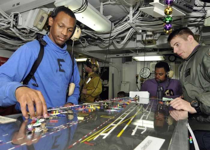 Nhân viên hàng không làm nhiệm vụ trên tàu sân bay USS Abraham Lincoln