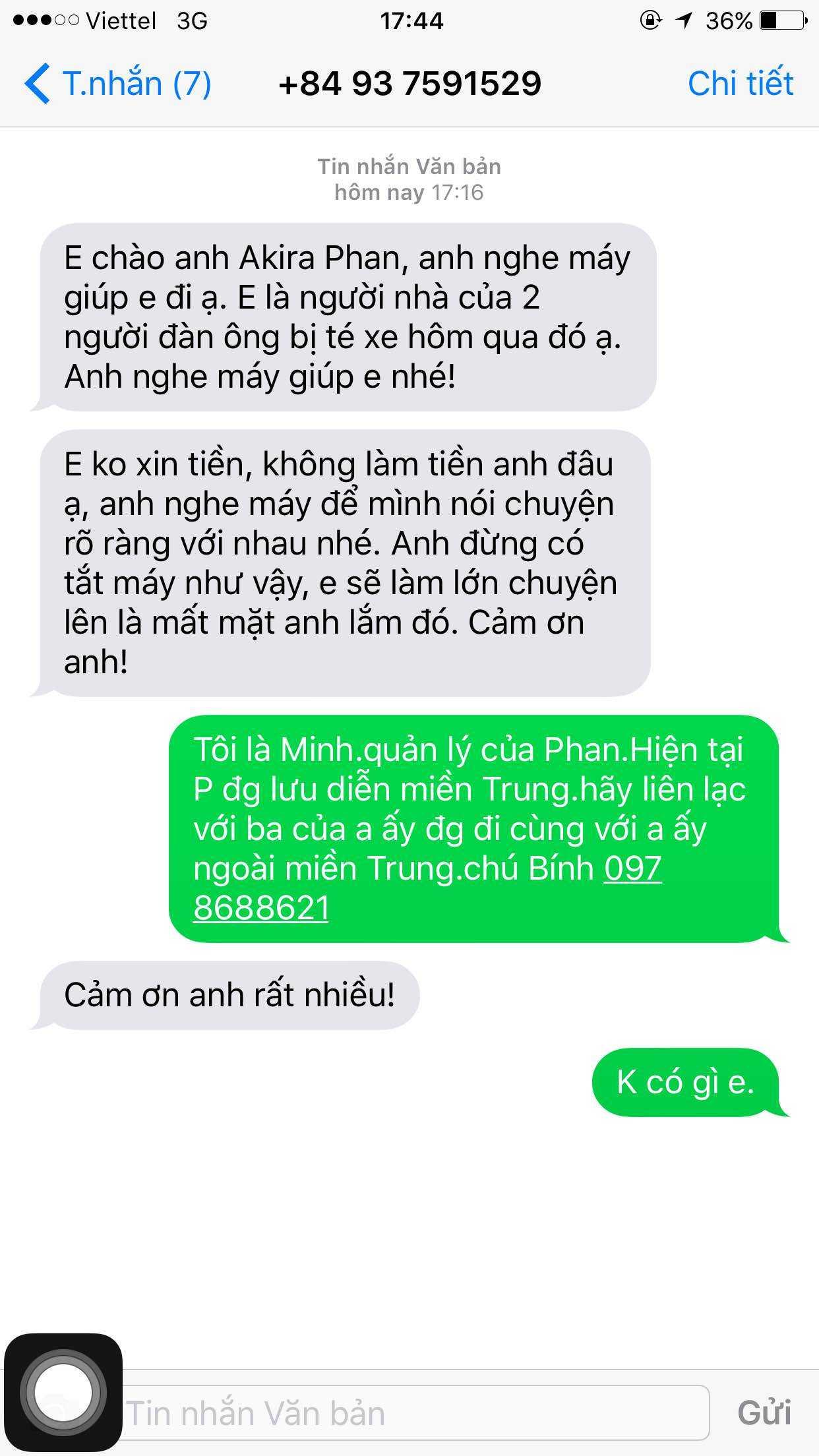 Tin nhắn đe doạ của người tự xưng là người nhà nạn nhân