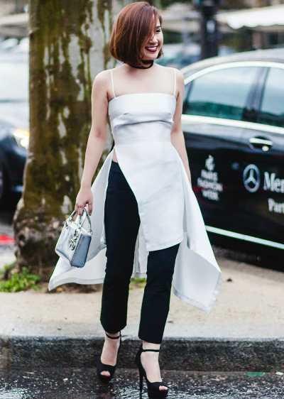 Trang phục đi xem show của tín đồ thời trang Việt Trâm Ruco hướng đến sự tinh tế và thoải mái.