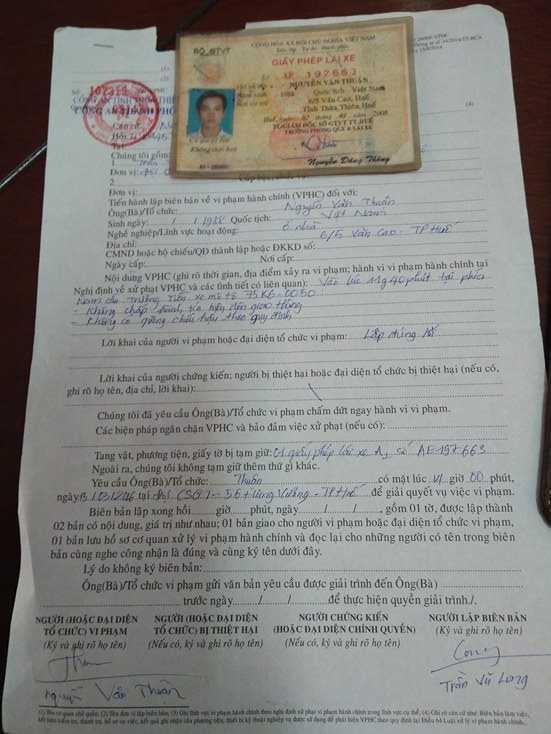 Biên bản xử phạt hành chính vì vi phạm luật giao thông đường bộ ngày 8/3.