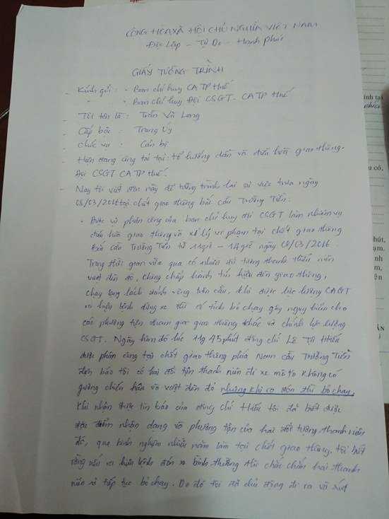Bản tường trình của Trung úy Trần Vũ Long.