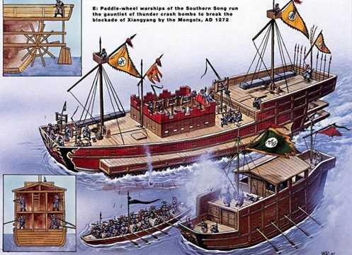 Thuyền chèo bằng guồng xoay Nam Tống (trên) phóng đạn gang nổ mảnh vào thuyền của quân Mông Cổ trong trận Tương Dương 1272.