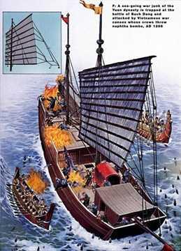 Chiến thuyền nhẹ của nhà Trần bao vây và phóng đạn dầu cháy vào chiến hạm quân Nguyên khi bị sa vào bãi cọc trong trận Bạch Đằng 1288.