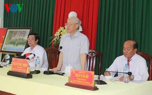 Tổng Bí thư Nguyễn Phú Trọng thăm xã Gia Thuận, huyện Gò Công Đông, tỉnh Tiền Giang