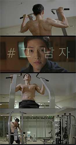 Song Joong Ki cơ bắp cuồn cuộn, cơ bụng 6 múi đầm đìa mồ hôi ở phòng tập gym trong 'Hậu duệ của mặt trời'.