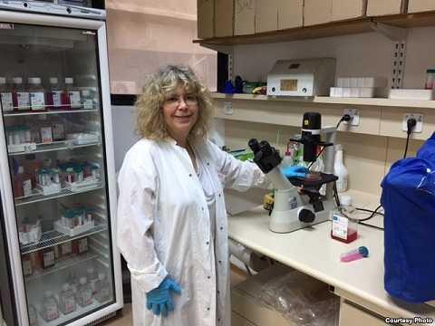 Giáo sư vi sinh vật Rina Rosin - Arbesfeld trong phòng thí nghiệm tại Đại học Tel Aviv