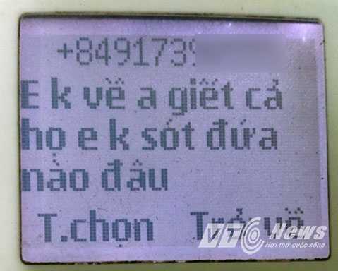 Tin nhắn được cho là của bạn trai chị Thảo đe dọa