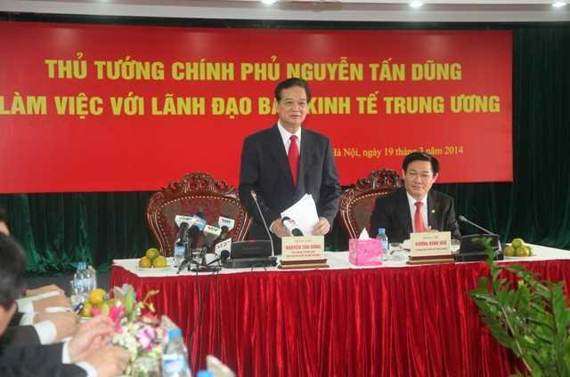 Thủ tướng Chính phủ Nguyễn Tấn Dũng khẳng định việc tái lập Ban Kinh tế Trung ương là cần thiết, phù hợp và đánh giá cao và biểu dương nỗ lực của Ban Kinh tế Trung ương