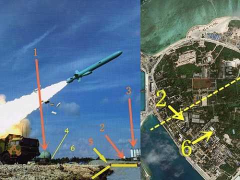 Hình ảnh vụ bắn tên lửa YJ-62 (trái) và phân tích từ hình chụp đảo Phú Lâm - Ảnh: Ifeng.com - Đồ họa: S.D