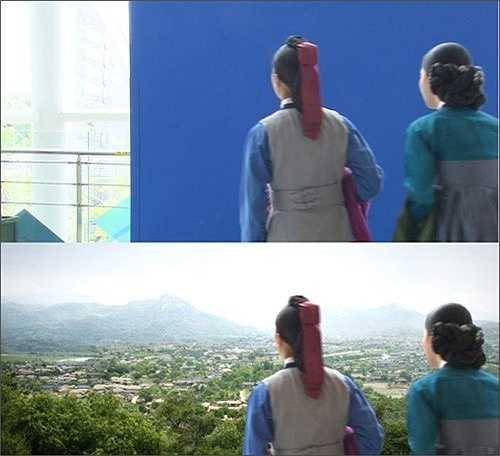 Khi nhân vật nữ Dong Yi nhìn ra bên ngoài, cô chỉ cần nhìn vào tấm phông nền xanh. Còn khi lên phim, đó sẽ là một ngôi làng thu nhỏ.