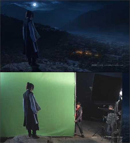 Trong một cảnh phim, nam diễn viên chính chỉ đứng im trước một tấm phông nền màu xanh (dưới). Khi lên hình, đạo diễn đã biến phông nền thành khung cảnh hoang vu.