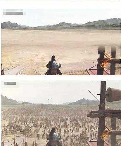 Hình ảnh thật (trên) và ảnh trên phim khiến nhiều người ngạc nhiên vì trình độ kỹ xảo ngày càng đẳng cấp của điện ảnh.