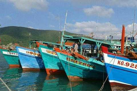 7 tàu cá Việt Nam tại căn cứ hải quân Songkhla. Ảnh: Second Naval Area