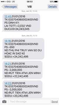 Tin nhắn báo tài khoản ngân hàng VIB của chị Hoàng Thị Hồng Hạnh bỗng dưng bị... rút mất tiền.