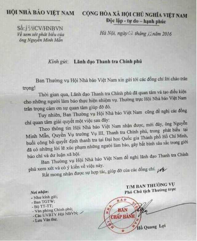 Văn bản Hội Nhà báo Việt Nam gửi lãnh đạo Thanh tra Chính phủ về phát ngôn gây bất bình trong giới báo chí và dư luận xã hội của ông Nguyễn Minh Mẫn.