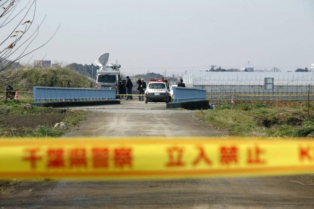 Hiện trường nơi tìm thấy thi thể bé Lê Thị Nhật Linh sáng 26/3 tại tỉnh Chiba của Nhật Bản. (Ảnh: Kyodo)