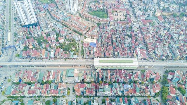 Toàn cảnh nhà ga La Khê - Hà Đông nhìn từ trên cao.