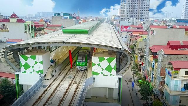 Đoàn tàu Cát Linh - Hà Đông đầu tiên đang được đặt tại ga trên cao La Khê (ảnh: Toàn Vũ)