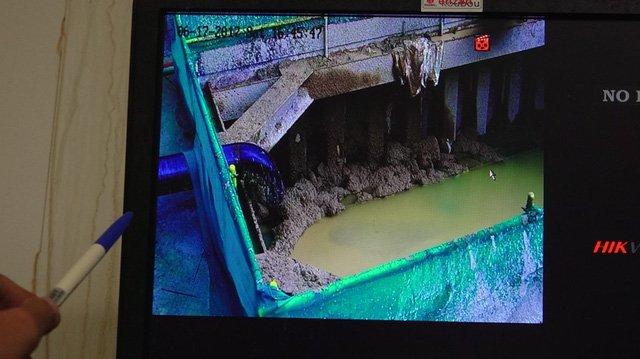 Hầm xả đất đá sau khi khoan.
