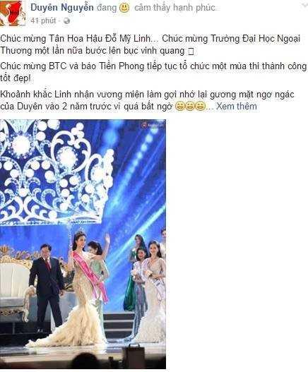 Do My Linh khoa Facebook sau khi dang quang Hoa Hau VN 2016 hinh anh 1