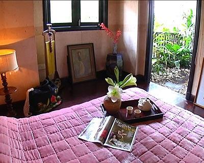 Ngài cửa phòng ngủ luôn là những khóm cây xanh mát tạo cảm giác thư thái cho mắt nhìn.