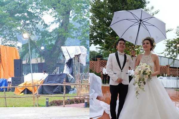 Ngày 29/11/2015, đám cưới của hoa hậu Diễm Hương và ông xã Quang Huy được tổ chức trong không gian ngoài trời tại một khách sạn ở TP HCM. Tuy thiệp mời ghi đón khách lúc 15h30, nhưng đến gần 16h, không gian tiệc vẫn chưa trang trí xong. Ngay lúc cô dâu và chú rể xuất hiện, trời bất ngờ đổ mưa lớn, khách phải kéo vào trong sảnh khách sạn để trú mưa. Khi vợ chồng Diễm Hương chuẩn bị cử hành hôn lễ, cơn mưa nặng hạt tiếp tục trút xuống. Lúc này, cặp đôi quyết định thay đổi kịch bản củalễ cưới. Khách mời sẽ dự tiệc tối trước,lễ trao lời thề nguyền diễn ra sau khi trờingớt mưa.