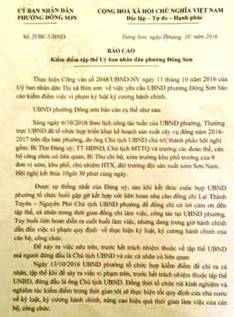 Báo cáo họp kiểm điểm rút kinh nghiệm của UBND phường Đông Sơn