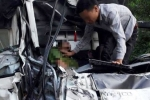 Hai xe tải tông nhau, một thượng úy công an chết thảm