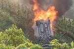Ô tô lao xuống vực bốc cháy, 1 người may mắn thoát chết