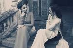 Hai nữ công an xinh đẹp thướt tha trong tà áo dài xưa
