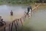 Clip: Cười té ghế màn đua xe đạp qua cầu gỗ siêu nhỏ