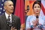 Mỹ Linh mặc áo dài hát Quốc ca không có nhạc nền trước Tổng thống Obama