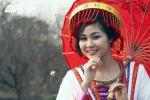 Miss Nghệ 'hóa' sơn nữ giữa vườn đào Tết